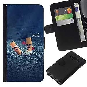 EJOY---La carpeta del tirón la caja de cuero de alta calidad de la PU Caso protector / Samsung Galaxy Core Prime / --Colillas divertido Steet