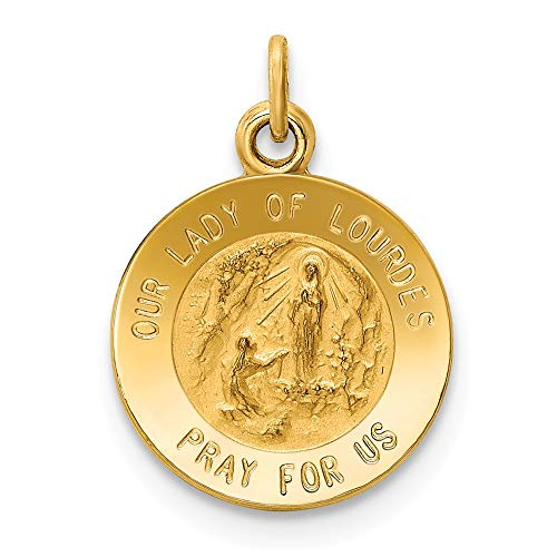 14k Yellow Gold Our Lady Of Lourdes Medal Pendant Charm Necklace Religious Lourde Fine Jewelry Gifts For Women For Her