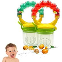 Baby Food Feeder, Silicone Pacifier Teething Toy - Maberry Mesh with Fresh Fruit Vegetable for Infants, Toddlers, and Kids - 2Pack (Blue&Green) (Orange / Green)