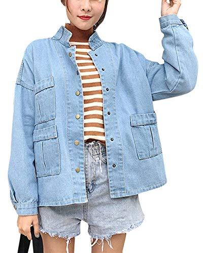 Battercake Giacca Single Donna Maniche Ragazze Tempo Tendenza Con tasca Autunno Donne Casuale Monocromo Multi Blau Breasted Outerwear Jeans Fashion Libero Relaxed Hell Lunghe Cappotto rF5qnr