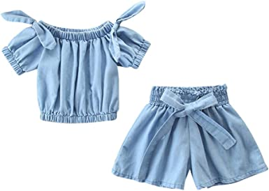 Little Kids T-Shirt 2Pcs Baby Fly Sleeve Dinosaur T-Shirt Top and Hole Denim Shorts Set Outfits