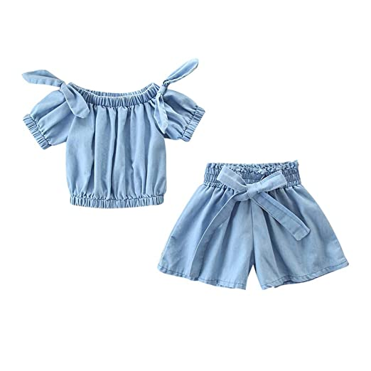 86a52b182d513 Amazon.com: Baby Short Sets,Fineser Kids Baby Girls Off Shoulder Solid  Denim Shirt Tops+Shorts Outfits Toddler Set Clothes 2-7T: Clothing