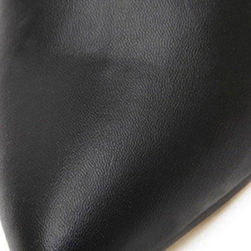 Tobillo Azbro Negro Bota Tacón Simple Punta Alto de de Mujer Color Puntera 66OWrqwE