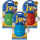 JW Pet 46123 EverTuff Wobbling Ball Toys for Pets, Medium, Assorted Colors (White with Orange , Blue or Green )