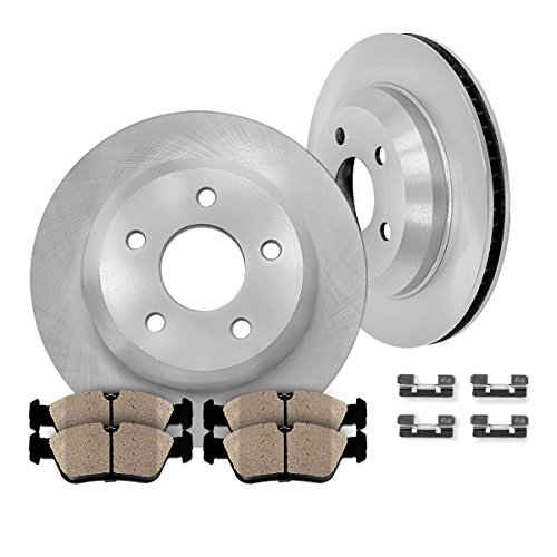 REAR 287.8 mm Premium OE 5 Lug [2] Brake Disc Rotors + [4] Ceramic Brake Pads + Clips by Callahan Brake Parts