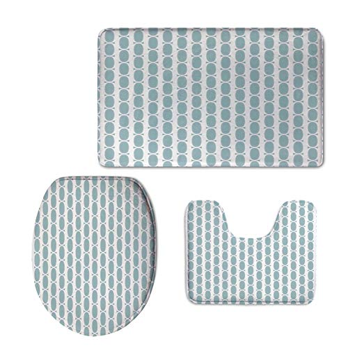 60s Wrangler - Fashion Bathroom Rug Set,Blue,Vintage 60s Living Room Inspired Round Circled Chain Like Shapes Art Print Decorative,Baby Blue White,3 Piece Toilet lid Cover mat Set