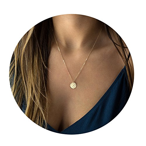 Befettly 14k Gold Fill Dainty Moon Phase Simple Moon Necklace Crescent Moon Full Moon Pendant Necklace-Full - Necklaces Delicate Gold