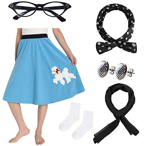 JustinCostume Women's 50's Outfit Poodle Skirt Costume Kit M/L Blue