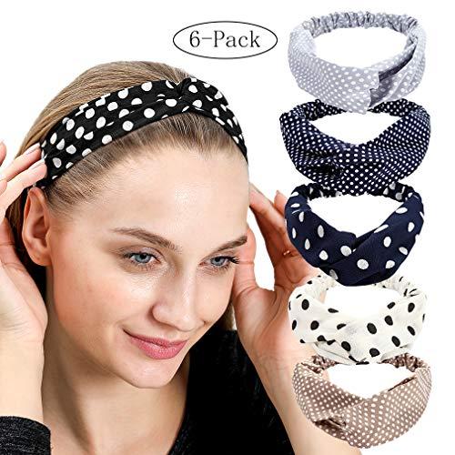 Criss Cross Hairband Elastic Plaid/Dot Print Twist Headband Pack of 6 (polkadot)