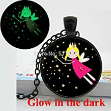 Pretty Lee Glow In The Dark Pendant Fairy Pendant Glass Cabochon Necklace Child'S Jewelry Black Pink Yellow Little Girl Glowing Jewelry