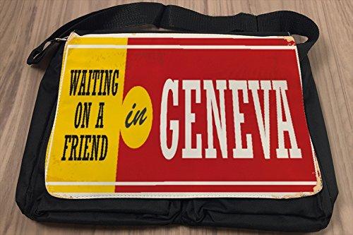 Umhänge Schulter Tasche Retro Metropole Genf Schweiz bedruckt