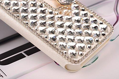Vandot 1X Für iPhone 5 5S Diamant Leder Strass Bling Tasche Flip Case Glitzer Book Wallet Hülle Cover ID Card Karte Etui mit Bow Tie Fliege Schleife - White Weiß