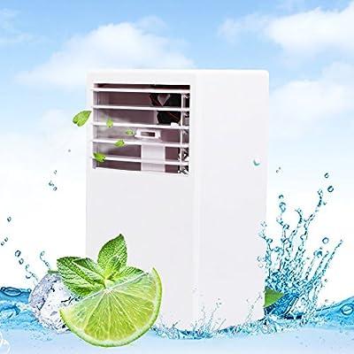 LUCKSTAR Desktop Air Conditioning Fan - Quiet Personal Mini Fan Air Cooler for Refrigeration & Humidification & Fresh Air (White)