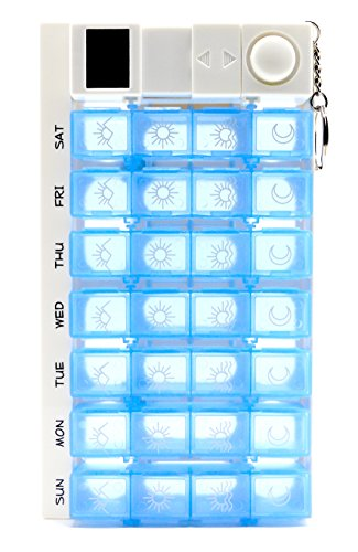PuTwo 7 Day Digital Pill Box With 28 Compartments 4 Timer Alarm Medication Reminder Organizer Dispenser, Blue, 0.25 Pound