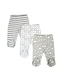 SpaSilk Baby-Boys 3 Pack Cotton Footed Pants Base Layer Bottom