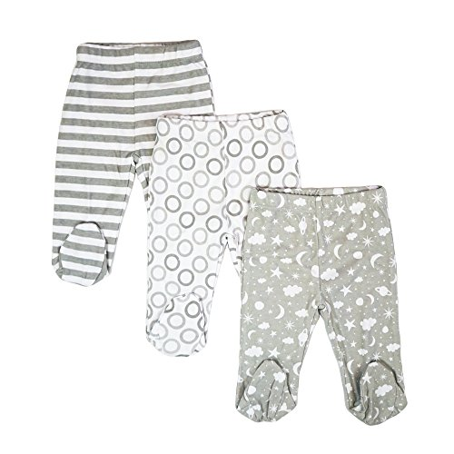 Infants Footed Pant - Spasilk Baby 3 Pack Cotton Footed Pants, Grey Celestial, 9 Months