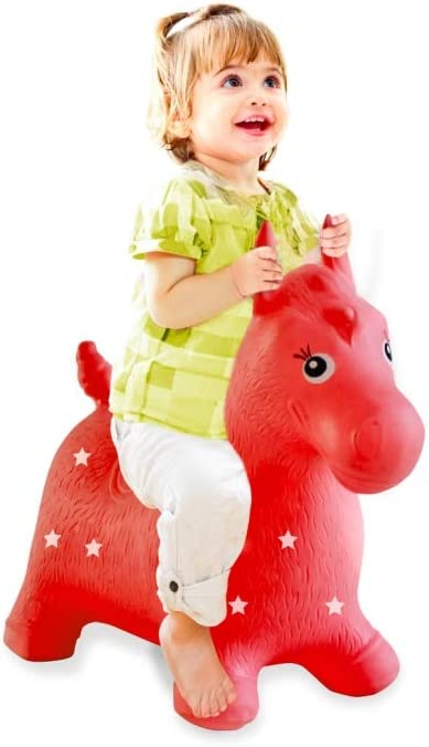 Jamara 460317 - Caballo rojo animal saltarín con bomba - Orejas como soporte