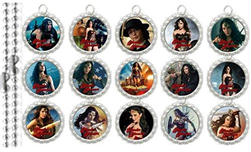 15 Wonder Woman Movie Silver Bottle Cap Pendant Necklaces Set