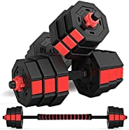 Bronze Times wolfyok Fitness Dumbbells Set, Adjustable Weight to 44/66Lbs, Home Fitness Equipment for Men and