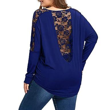 ❤ Camisa de Mujer Autumn Plus Size,Blusa de Tops de Encaje de Manga Larga Suelta Ocasional Absolute: Amazon.es: Ropa y accesorios