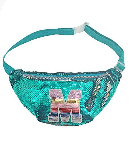 Girls Reversible Sequin Sling Bag Crossbody Purse Women Fanny Pack Waist Pack Glitter Initial Belt Bag