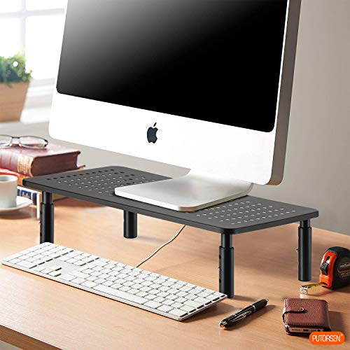 Monitor Stand Riser - Laptop Stand - 3 Height Levels Adjustable Stand with Non-Skid Rubber, Sturdy, Stable Black Metal Construction for Computer, iMac, PC, Printer