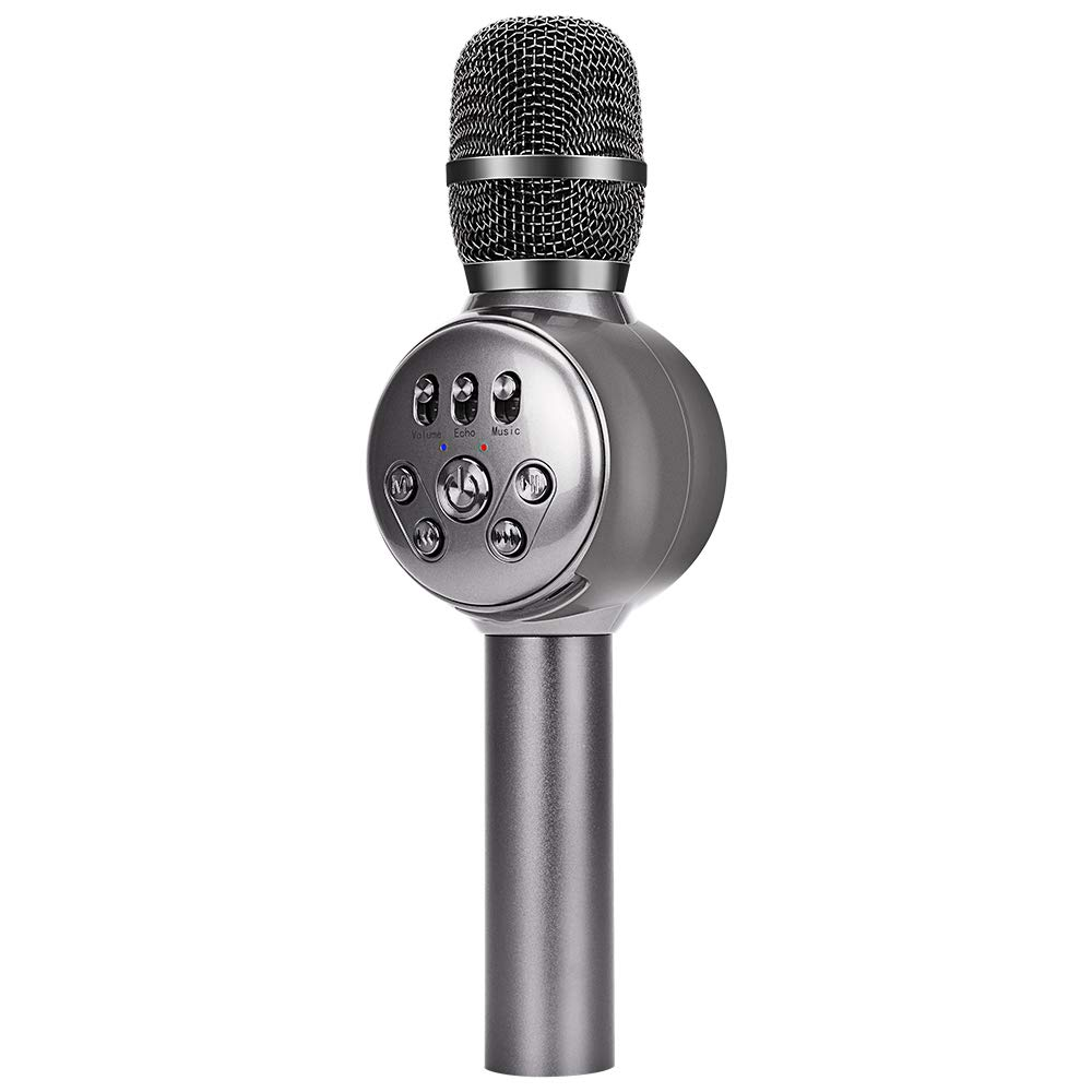 BONAOK Wireless Bluetooth Karaoke Microphone with Dynamic LED Light, 4 in 1 Portable Handheld Karaoke Mic Home Party Birthday Speaker for iPhone/Android/iPad/PC/Sony (Space Grey)