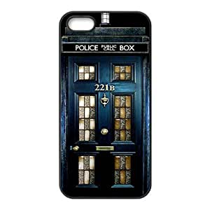 Police Box 221B Door Hard Rubber Phone Cover Case for iPhone 5,5S Cases by icecream design