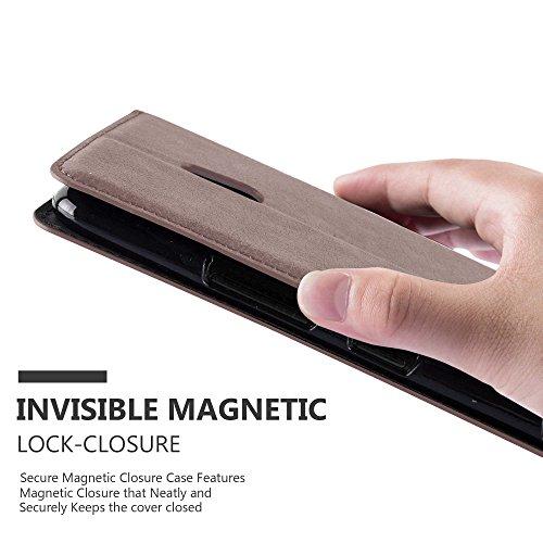 Cadorabo - Funda Book Style Cuero Sintético en Diseño Libro Nokia Lumia 1320 - Etui Case Cover Carcasa Caja Protección con Imán Invisible en NEGRO-ANTRACITA MARRÓN-CAFÉ