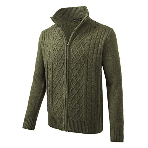 VOBOOM Mens Casual Stand Collar Cable Knitted Zip-up Cardigan Sweater Jacket (Green, M)