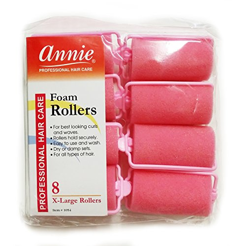 Annie Classic Foam Cushion Rollers #1054, 8 Count Pink X-Lar