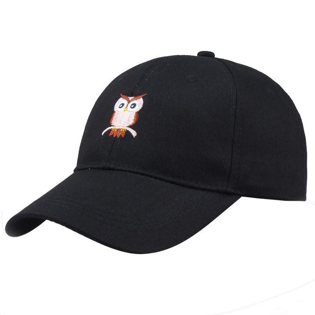 Swyss Unisex Baseball Cap Owl Embroidered Visor Dad Hat Solid Adjustable Outdoor Sport Trucker Casual Cap,Black