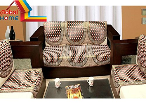 Global Home Sofa Cover Set of 5 and Chair Cover Set – Maroon Gold