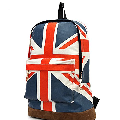 ackpack Shoulder School Bag Canvas BackPack (UK British Flag) ()