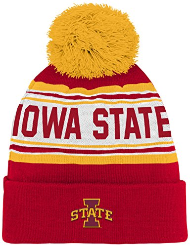 NCAA Iowa State Cyclones Kids & Youth Boys Jacquard Cuffed Knit Hat w/Pom, Red, Youth One Size