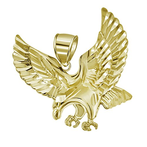 Jewels By Lux 10kt Gold DC Mens Eagle Ht:25.5mm x W:25.4mm Animal Charm Pendant.