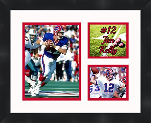 Jim Kelly - Buffalo Bills, Framed 11 x 14 Matted Collage Framed Photos Ready to hang ()