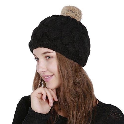 Femme Tricoté Noir Chapeau Acvip Bonnet Chaud Crochet Avec Pompon awAArEqd