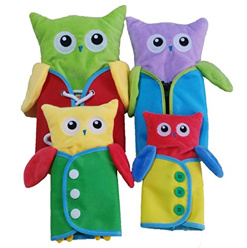 Yoovi Montessori Early Learning Basic Life Skills Learn to Dress Owl Plush Toys – Zip,Button, Snap, Tie 4 pcs/set