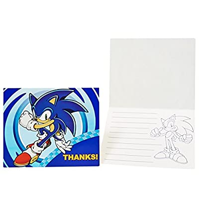 Birthday Express Sonic the Hedgehog Thank You Notes with Envelopes, 8-Count: Toys & Games