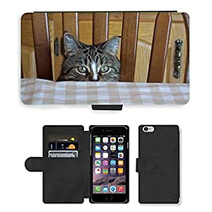 Hot Style Cell Phone Card Slot PU Leather Wallet Case // M00115549 Cat Eyes Feline Tabby Peek Boo // Apple iPhone 6 4.7""
