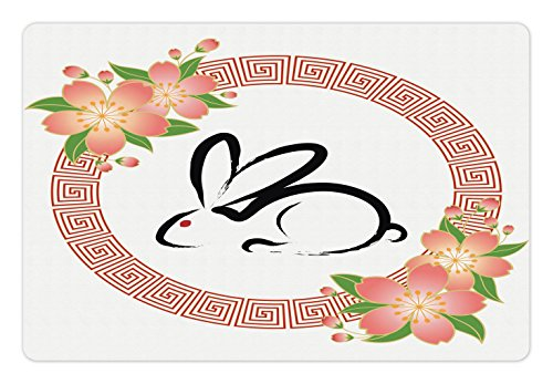 Lunarable Nature Pet Mat for Food and Water, Chinese New Year 12 Year Animal Cycle Greeting Card Style Art Rabbit Pattern, Rectangle Non-Slip Rubber Mat for Dogs and Cats, Peach Green Black