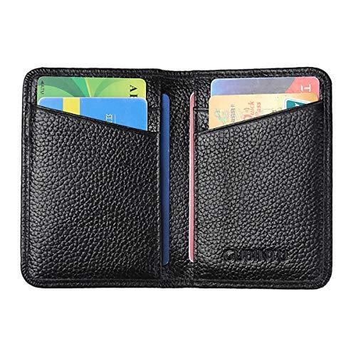 RFID Blocking Bifold Front Pocket Wallet Minimalist Wallet Slim ID/Credit Card Holder Genuine Leather