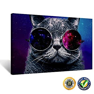 Creative Art - Canvas Prints Wall Art Pop Glasses Cat Funny Art Poster Print on Canvas Modern Wall Decor Home Decoration Stretched Canvas Giclee Print Ready to Hang
