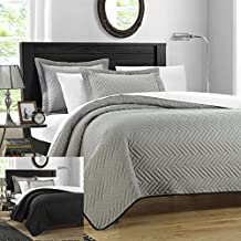 Chic Home Chevron Blocks 7 Piece Palermo Reversible Quilt, 2 Colors in 1 set Queen, Silver, with 4 Piece Sheet Set