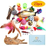 GaiusiKaisa Cat Toys Kitten Toys Assortments,23Pcs,Cat Feather Toys,Interactive Feather Toy,Catnip Fish,Matatabi Chew Sticks,Fluffy Mouse,Mice,Crinkle Balls,Bells,Cat Toys Variety Pack for Cat,Kitten