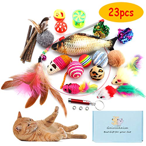 (GaiusiKaisa Cat Toys Kitten Toys Assortments,23Pcs,Cat Feather Toys,Interactive Feather Toy,Catnip Fish,Matatabi Chew Sticks,Fluffy Mouse,Mice,Crinkle Balls,Bells,Cat Toys Variety Pack for Cat,Kitten )