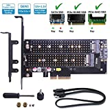 M.2 PCIe Dual Adapter, M2 SSD NGFF SATA (b key) / NVME (m key) 22110 2280 2260 2242 2230 to PCI-E 3.0 x 4 Gen3 12V+3.3V High Power Host Controller Expansion Adapter Card for Desktop PCI Express