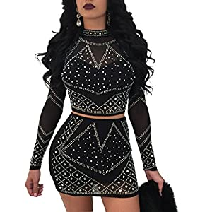Kafiloe Women 2 Piece Skirt Set Outfits Mesh See Through Rhinestone Crop top with Bodycon Mini Dress Clubwear