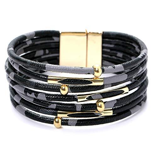 ILJILU Leopard Bracelets for Women Metal Pipe Charm Multilayer Wide Leather Wrap Bracelet (Black)